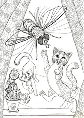 Hand drawn illustration kittens catching housefly coloring book