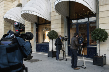 Camermen film outside the Chaumet jewellers at the Place Vendome in Paris hours after hundreds of thousands of euros of precious stones were stolen