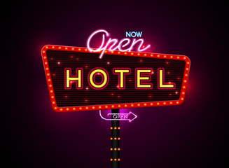 hotel sign buib and neon