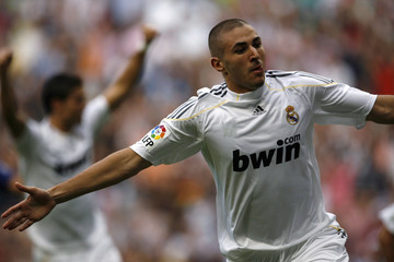 Real Madrid's Benzema celebrates his goal during his Spanish first division soccer match against Tenerife in Madrid