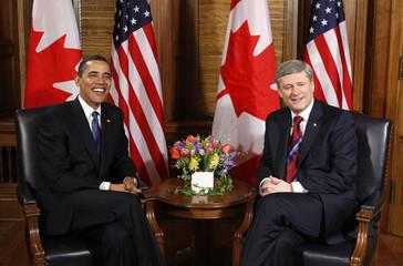 U.S. President Barack Obama and Canadian Prime Minister Stephen Harper meet on Parliament Hill in Ottawa