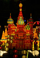 A replica of Moscow's Saint Basil's Cathedral is seen at a mid-autumn lantern festival exhibition in Singapore