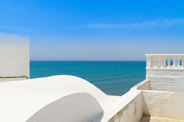 Poster de jardin Tunisie Blick vom Balkon eines Hause in der Medina von Hammamet auf das Mittelmeer