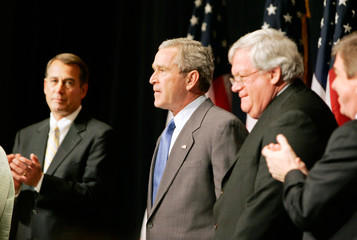 US President George W Bush is introduced at House Republican Conference in Maryland