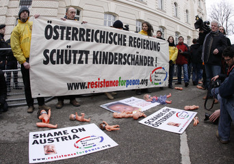 Demonstrators protest in front of the court of law in Sankt Poelten where the Fritzl trial is taking place