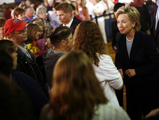 Democratic presidential candidate Senator Clinton shakes hands with supporters during a campaign stop in Knoxville