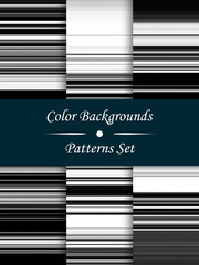 Horizontal black and white stripes abstract background, stretched pixels effect, seamless patterns, set