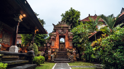 Balinese traditional temple and gate, Ubud