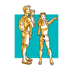 Happy family - mother, father, daughter walking. Beautiful woman pointing finger at something interesting. Cartoon vector illustration.