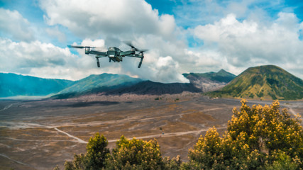 drone flying over volcano Bromo