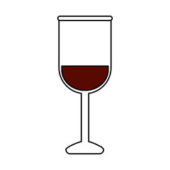 color silhouette image glass cup with wine vector illustration