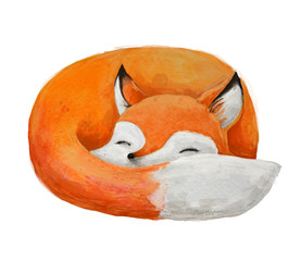 cute watercolor fox