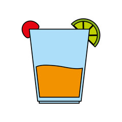color image cartoon glass cup of cocktail with lemon and cherry vector illustration