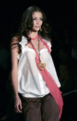 A model displays a creation from Lola De Alejandro's Spring/Summer 2008/09 collection during Fashion Week Mexico