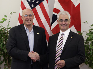 U.S. Treasury Secretary Paulson meets British Finance Minister Darling on the sidelines of the G8 Finance Ministers Meeting in Osaka, western Japan