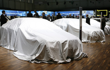Mercedes-Benz new models are covered before their presentation during the first media day of the 79th Geneva Car Show in Geneva