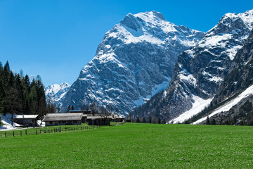 Wall Mural - Amazing mountain scenery with rugged mountains in the early springtime  Austria, Tyrol, Karwendel Alpine Park, near Falzthurn