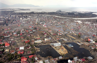 An aerial view shows the tsunami-devastated city of Banda Aceh.