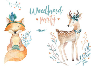 Cute baby fox and deer animal for kindergarten, nursery isolated illustration for children clothing, pattern. WatercolorHand drawn boho image Perfect for phone cases design, nursery posters, postcard