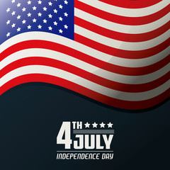 4th july independence day united states of america flag waving vector illustration