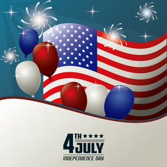 4th july independence day flag balloons fireworks celebration vector illustration