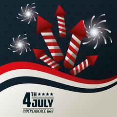 4th july independence day fireworks festive celebration national design vector illustration