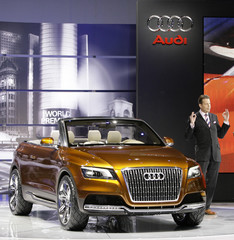 Head of Design for Audi AG Stefan Sielaff speaks about the Audi Cross Cabriolet Quattro are it was unveiled during the Los Angeles Auto Show in Los Angeles, Californi