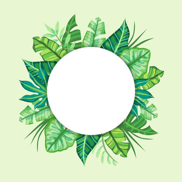 Round label design with Tropical Leaves. Suitable for nature concept, vacation, and summer holidays. Vector Illustration.