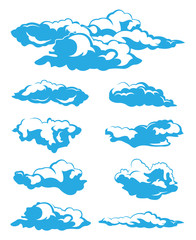 illustration of clouds collection on white