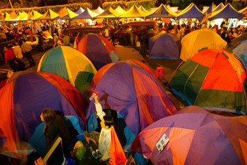 TENTS ERECTED IN FRONT OF PRESIDENTIAL PALACE IN TAIPEI.