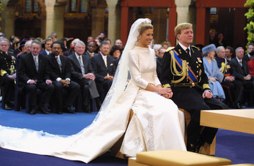 DUTCH CROWN PRINCE WILLEM-ALEXANDER AND HIS BRIDE MAXIMA ZORREGUIETA ATCIVIL WEDDING CEREMONY ...
