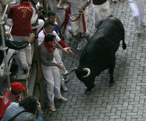 Runners try to evade a Conde de la Corte fighting bull during the first day of the running of the bulls  in Pamplona