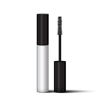 Empty mascara brush vector mock-up illustration. Realistic 3d empty white eyelash or eyecleaner package design. Luxury makeup cosmetic product container or tube in silver color isolated.