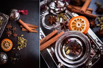 Still life. Tea set, star anise, dried orange