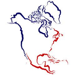 Mapa Ameryki Północnej - fototapety na wymiar