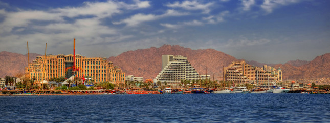 Magnificent panoramic and colorful HDR image of the new harbor of Eilat with its beautiful resorts, Israel.