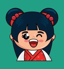cute japanese doll kawaii style vector illustration design