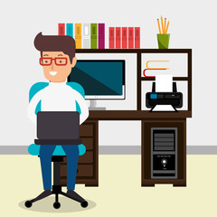 businessman working in the office vector illustration design