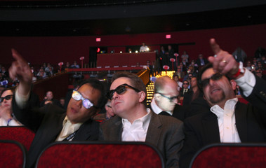 Invited guests watch Florida vs. Oklahoma BCS championship football game in 3D in Las Vegas