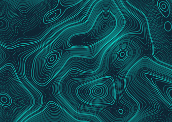 Abstract illustration of a topographic map. Pattern made with bold and dotted lines in cyan and dark blue colors. Texture for documents, textile, wrap or wallpaper.