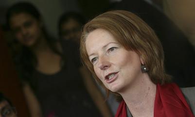Australia's Deputy Prime Minister Gillard speaks in New Delhi