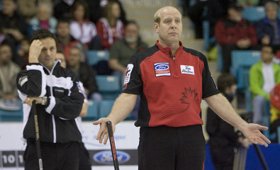 Canada's skip Kevin Martin reacts during World Men's Curling in Moncton, New Brunswick