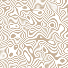 Abstract vector wavy pattern with curves and circles in brown. Wood pattern. Texture for documents, textile, wrap or wallpaper.