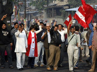 Nepali political activists shout anti-monarch slogans in Kathmandu
