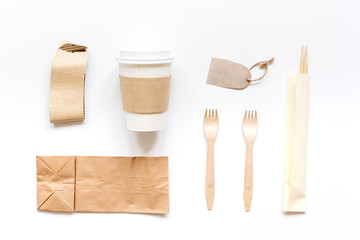 paper bags for food delivery restourant white table background top view mockup