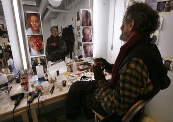 Veteran British actor Ronald Pickup sits in the makeup room on the set of the movie 'Dark Floors' in Oulu