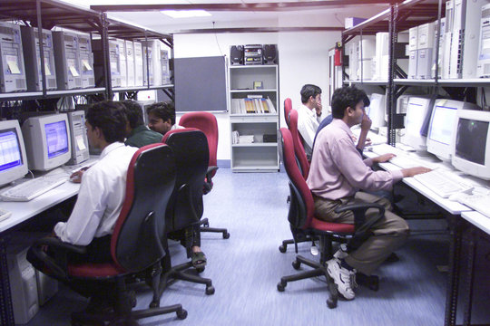 SOFTWARE ENGINEERS WORK IN THE DATACENTRE OF MICROSOFT INDIA IN HYDERABAD.