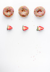 food design with donat set on white table background top view mockup