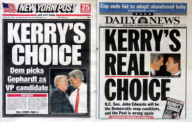 FRONT PAGES OF NEW YORK TABLOIDS SHOWING KERRY VP STORY.