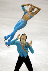 Totmianina and Marinin of Russia perform at European figure skating championships in Lyon